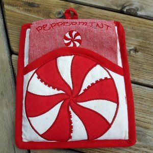 CUTE Peppermint Swirl Dish Towel and Pot Holder